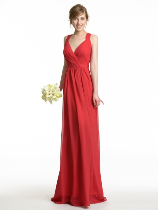 Long V-Neck A-Line Pleated Chiffon Bridesmaid Dress