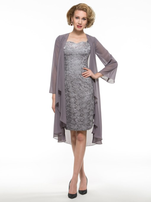 Knee-Length Column Lace Mother of the Bride Dress with Jacket