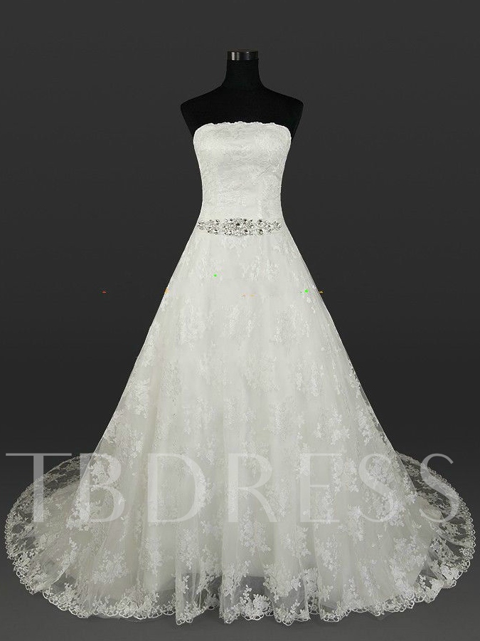 Image of Strapless Lace A-Line Beading Sash Plus Size Wedding Dress