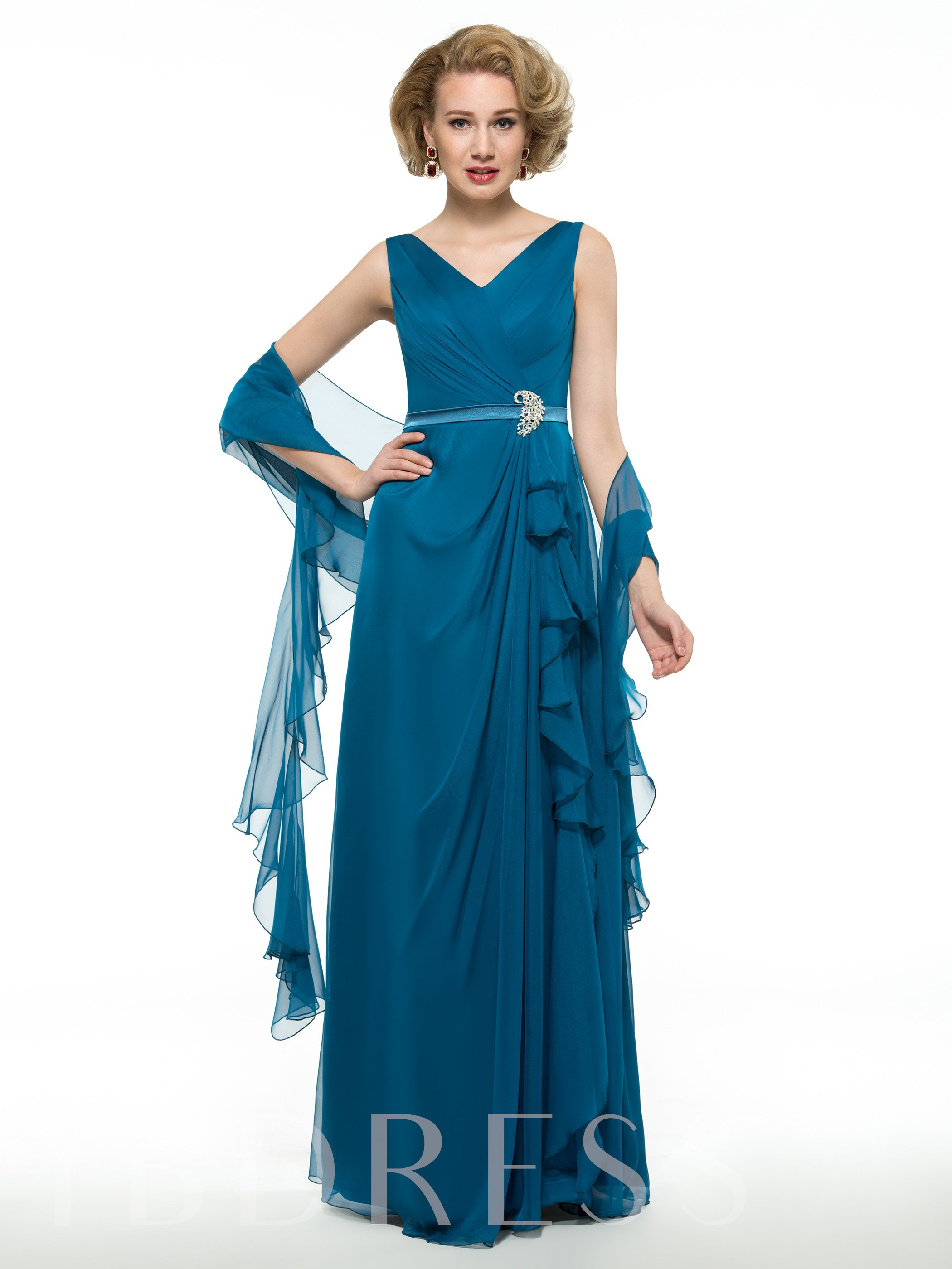 Image of 30D Chiffon V-Neck Draped Floor-Length Mother of the Groom Dress