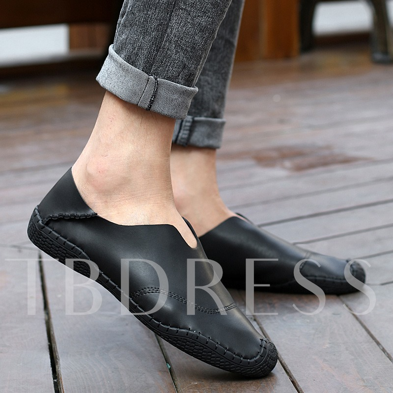 Round Toe Patchwork Flat Heel Slip-On Men's Loafers