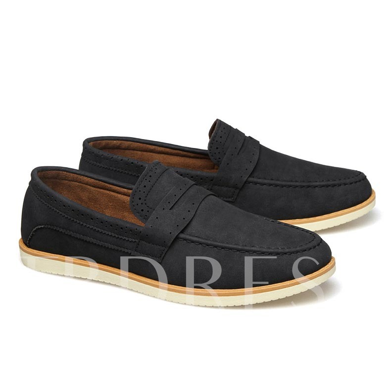 Slip-On Flat Heel Plain Men's Loafers