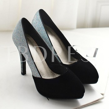 Round Toe Stiletto Heel Slip-On Patchwork Plain Women's Pumps