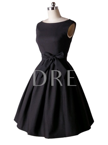 Plain Bowknot A-Line Pretty Women's Day Dress
