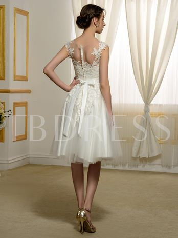 Knee-Length Lace Tulle Bowknot A-Line Short Wedding Dress