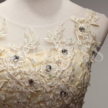A-Line Scoop Neck Appliques Beading short Homecoming Dress