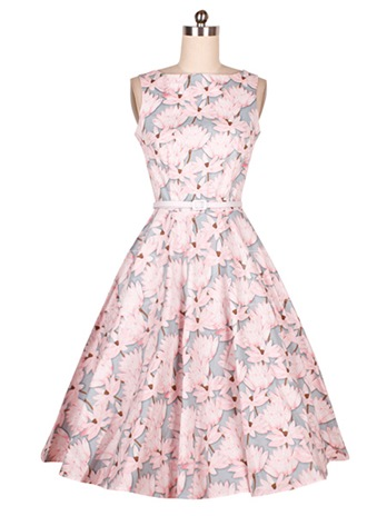 Pretty Sleeveless Floral Print Birth Party Women's Day Dress