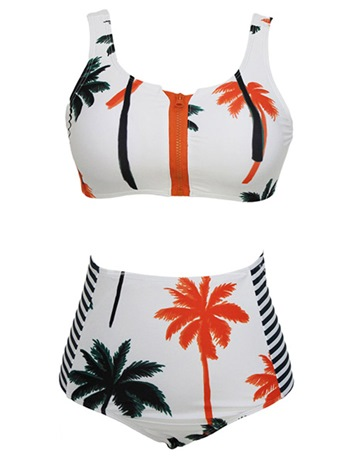 Vintage High Neck Striped Palm Tree Pattern Bikini Swimsuit