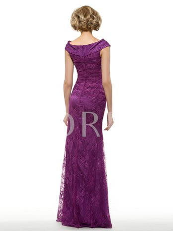 V-Neck Lace Floor-Length Trumpet Mother of the Bride Dress