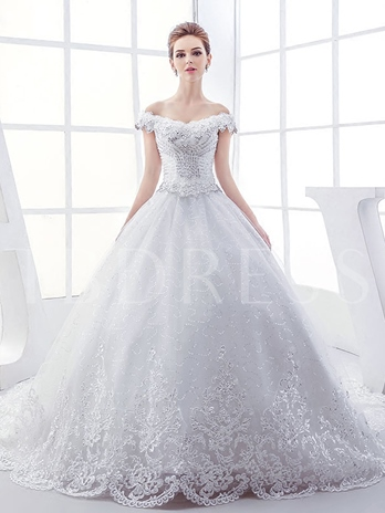 Off-The-Shoulder Cap Sleeve Beading Appliques Ball Gown Wedding Dress