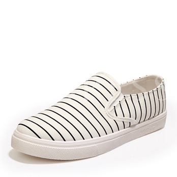 Round Toe Flat Heel Stripe Low-Cut Upper Men's Canvas