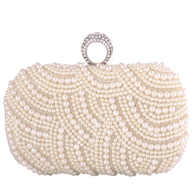 Noble Spread Pearl Decor Women's Clutches