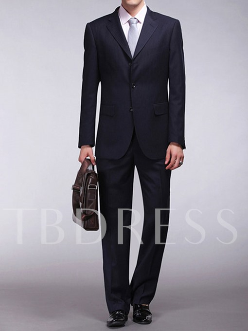 Men's Slim Fit Suit with Vertical Striped