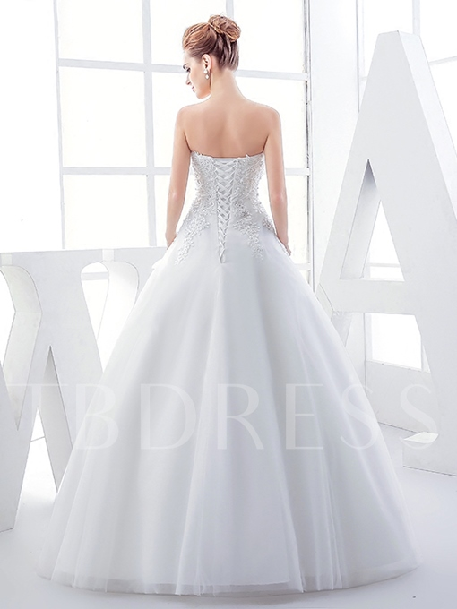 Strapless Lace-Up Appliques Floor-Length Wedding Dress
