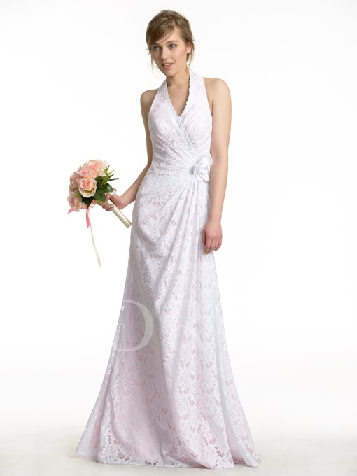 Romantic Halter Neck Lace Flowers A-Line Bridesmaid Dress