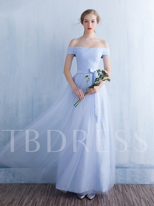 Fairy Off-The-Shoulder Tulle Floor-Length A-Line Bridesmaid Dress
