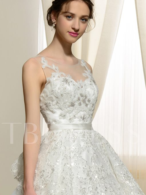 Backless Sequins Ball Gown Appliques A-Line Wedding Dress
