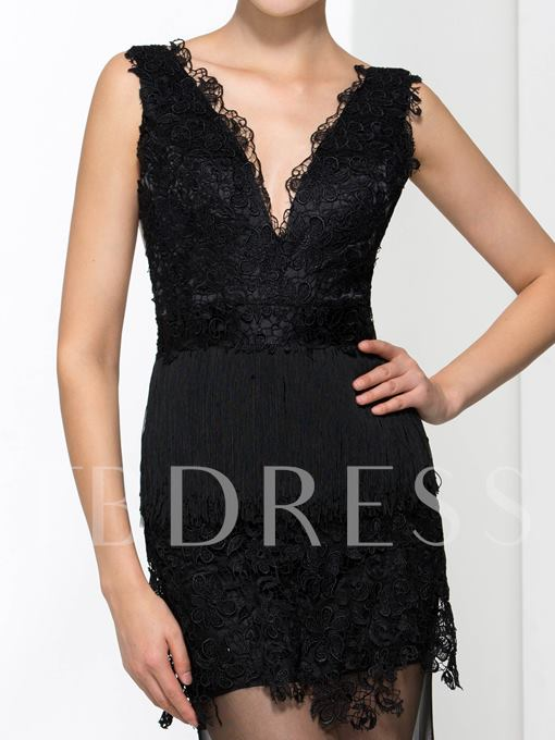 Double V-Neck Lace Sheath Evening Dress