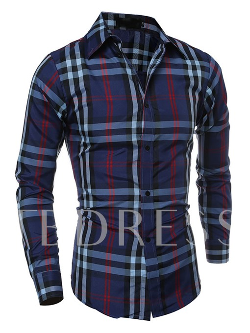 Lapel Classic Plaid Slim Men's Shirt
