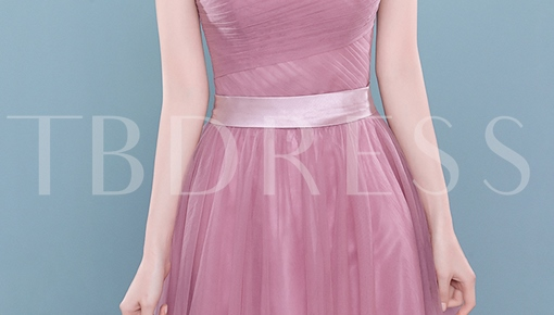 A-Line Off-the-shoulder Pleats Ribbon Evening Dress