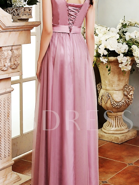 V-Neck Ankle-Length Bowknot Tulle Bridesmaid Dress