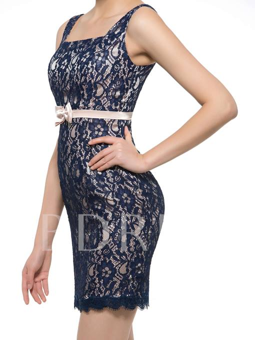 Square Neck Straps Short Lace Mother of the Bride Dress with Jacket