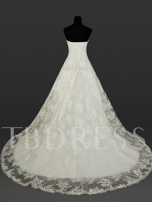 Strapless Lace A-Line Beading Sash Plus Size Wedding Dress