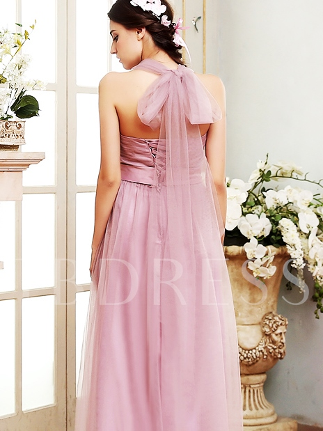 Halter Neck Ankle-Length Bowknot Tulle Bridesmaid Dress