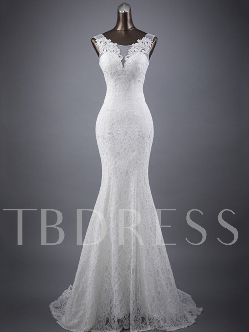 Scoop Neck Appliques Mermaid Lace Wedding Dress