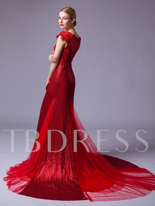 Cap Sleeves Round Neck Sequins Appliques Beading Evening Dress