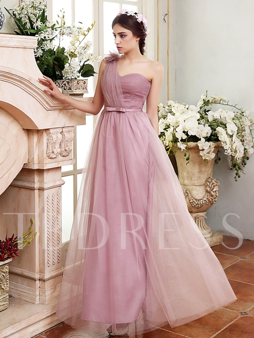 One-Shoulder Lace-Up Ankle-Length Tulle Bridesmaid Dress