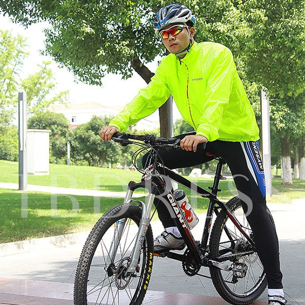Fluorescent Green Color Outdoor Men's Cycle Jersey (Plus Size Available)