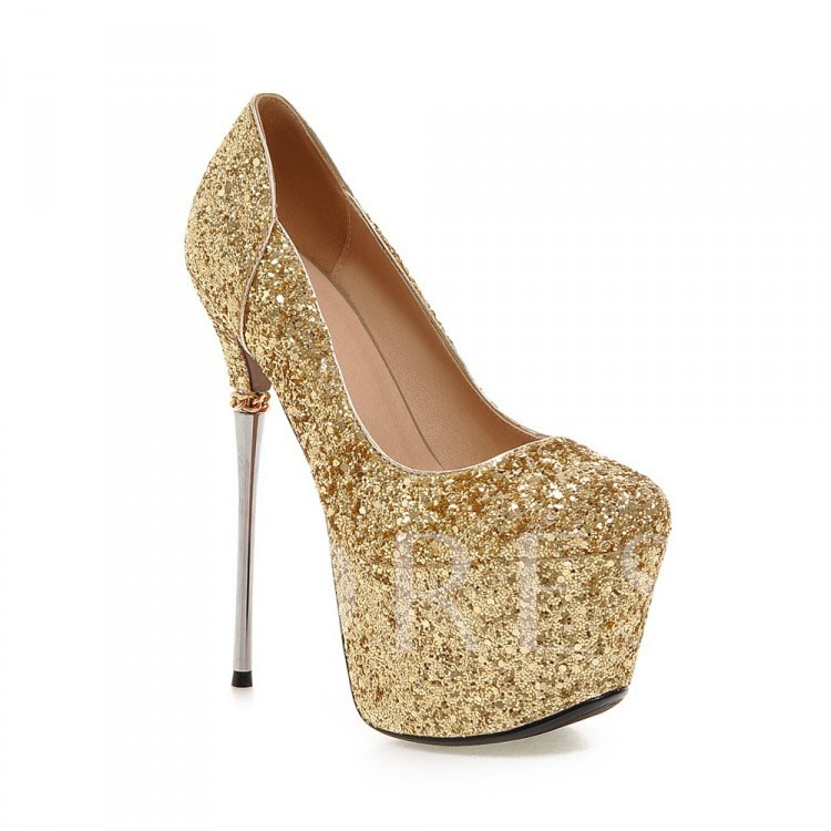 Sequins Slip-On Platform Stiletto Heel Plain Women's Pumps