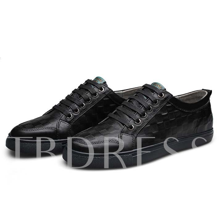 Round Toe Flat Heel Lace-Up Front Low-Cut Upper Men's Loafers