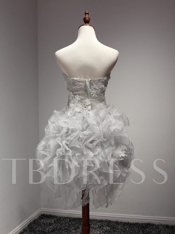 Strapless Sheath Appliques Cascading Ruffles Cocktail Dress