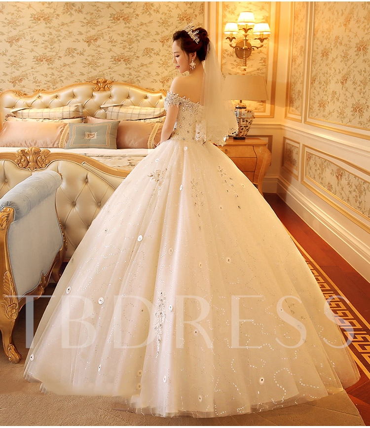 Off The Shoulder Beading Lace Ball Gown Wedding Dress