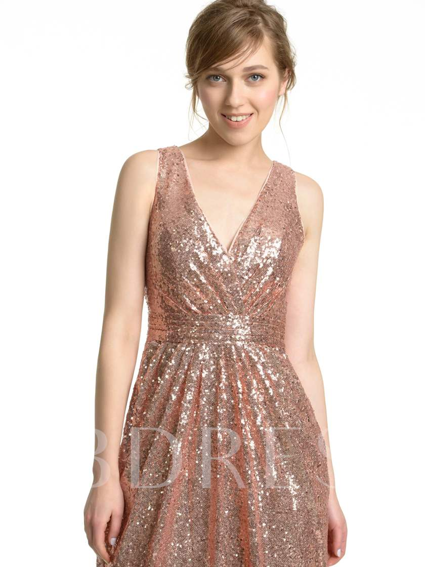 V-Neck Long Sequins Bridesmaid Dress