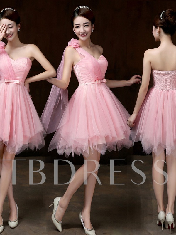 One-Shoulder Asymmetry Short Bridesmaid Dress