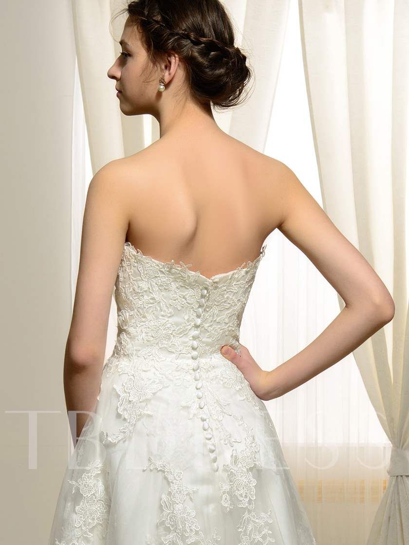 Ankle-Length Appliques Lace Buttons Tulle Wedding Dress