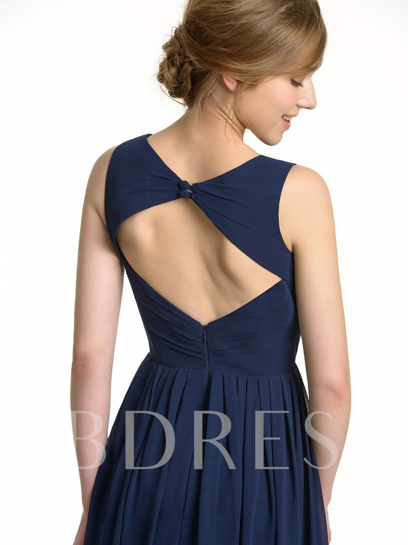 Keyhole Back Composite Silk A-Line Long Bridesmaid Dress