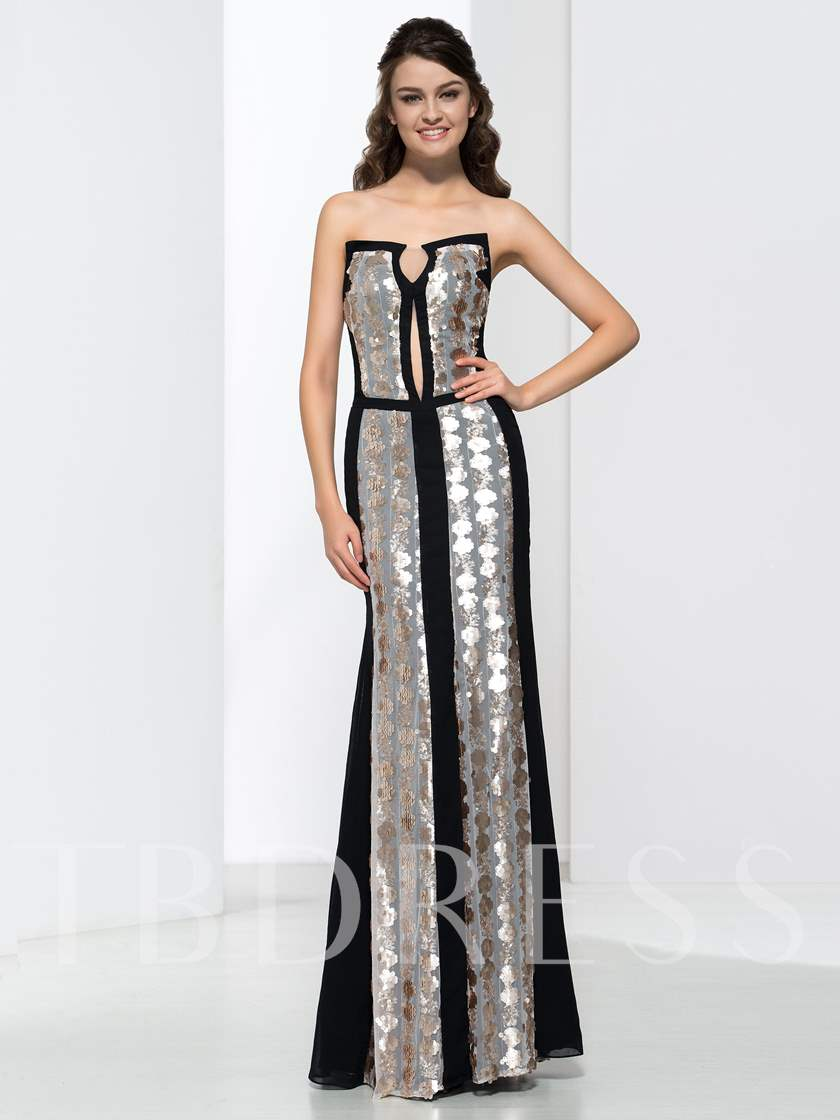 Sequins Long Sheath Evening Dress