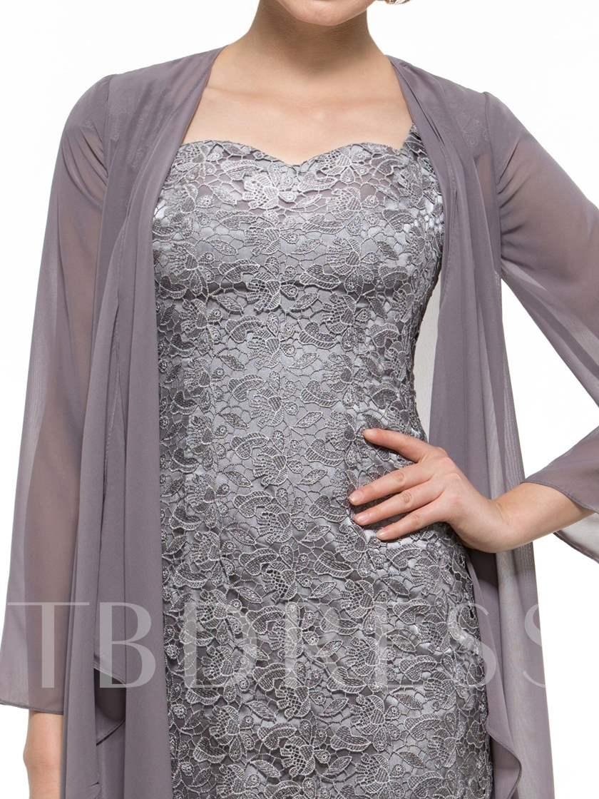 Column Lace Short Mother of the Groom Dress with Jacket
