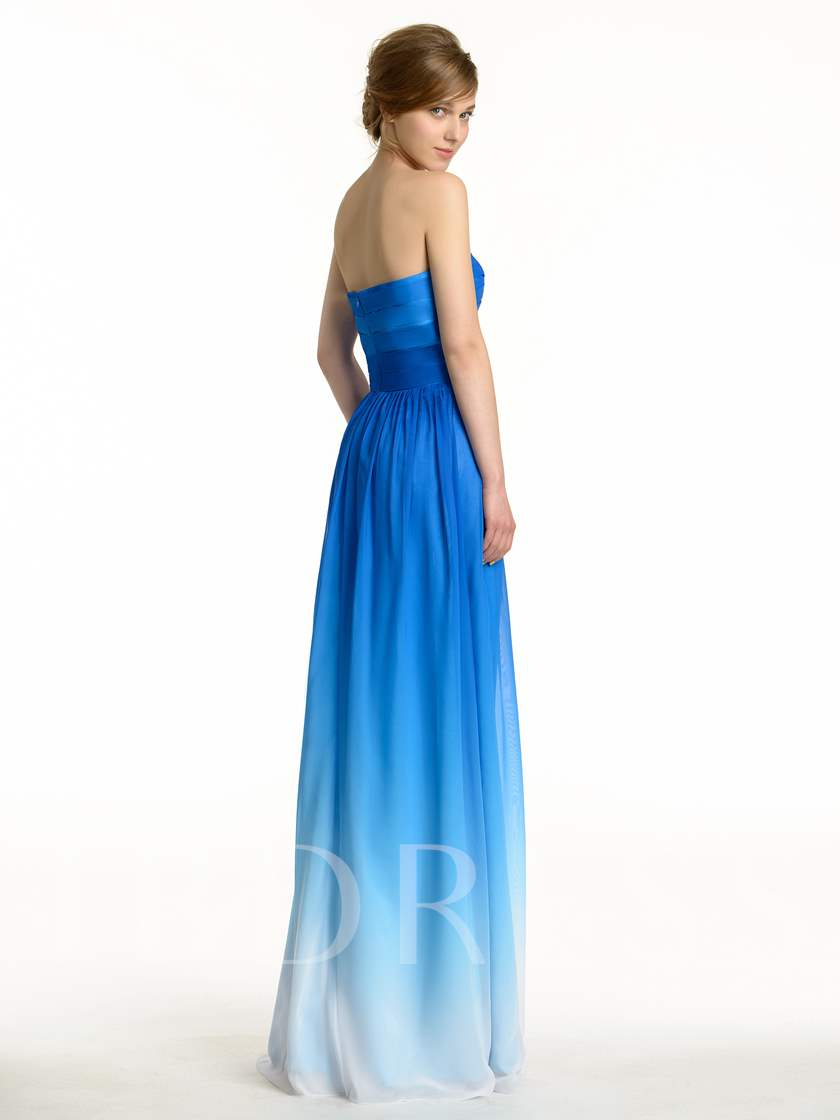 Fading Color Sweetheart Pleated Bridesmaid Dress