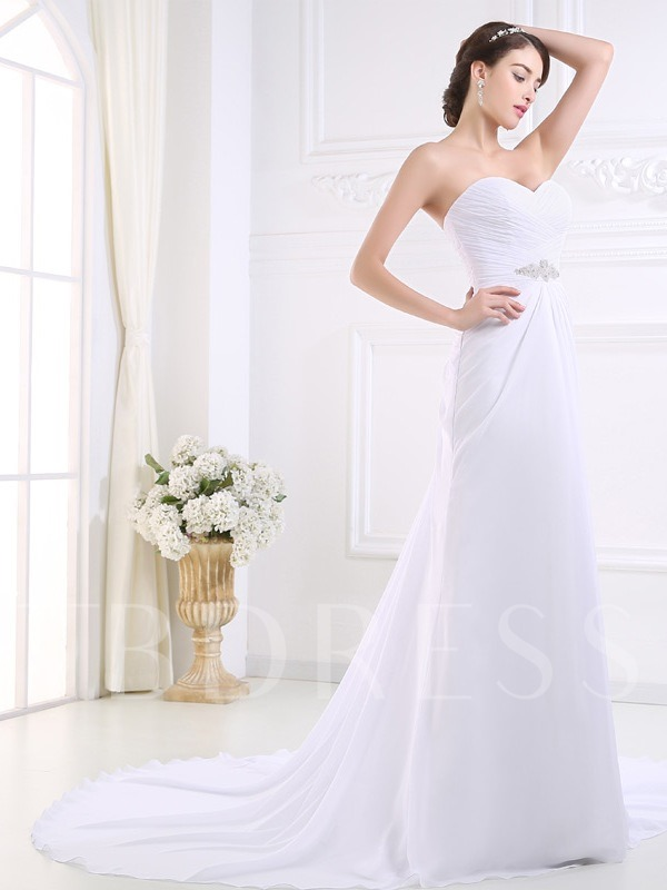 Simple Ruched Pleats Chiffon Beading A-Line Beach Wedding Dress