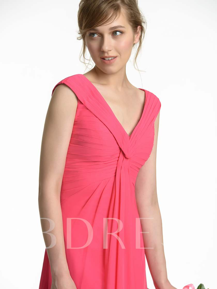 V-Neck Pleated Chiffon A-Line Bridesmaid Dress