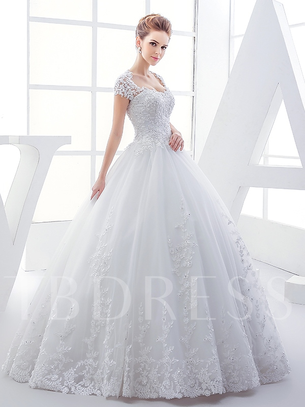 Heart Keyhole Back Appliques Ball Gown Plus Size Wedding Dress ...