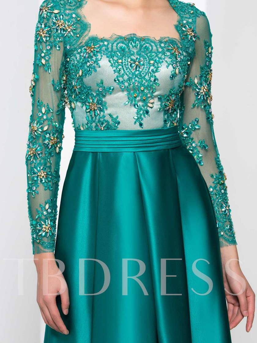 Long Sleeve Beaded Pleats Long Evening Dress