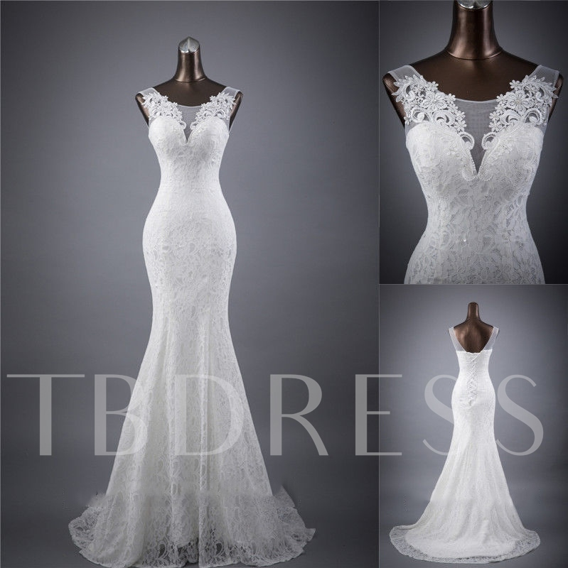 Straps Appliques Mermaid Lace Wedding Dress