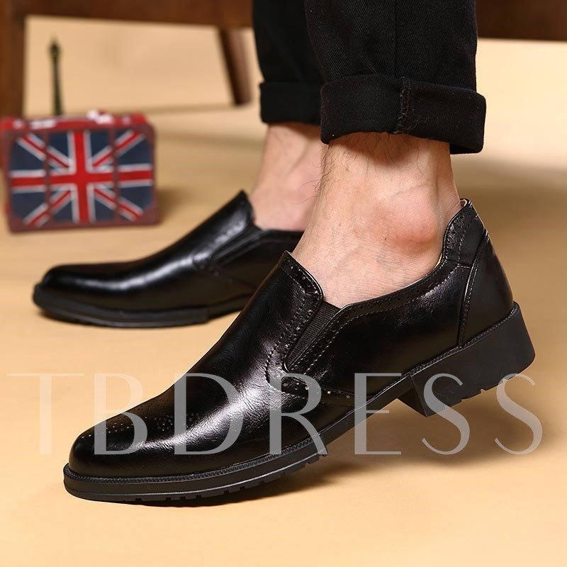 Square Heel Round Toe Low-Up Front Men's Oxfords