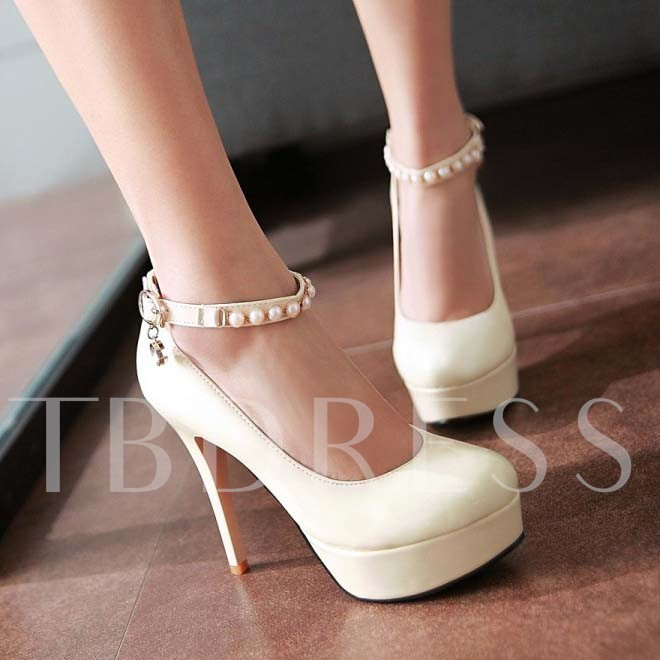 Round Toe Plain Bead Platform Stiletto Heel Women's Pumps